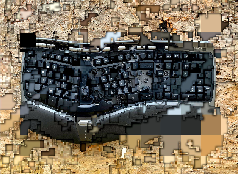 A shot computer keyboard, sliced