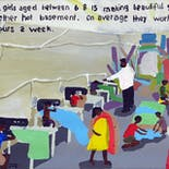 Bad Painting 49: Boys & girls aged between 6 & 15 making beautiful garments in a rather hot basement. On average they work over 60 hours a week.