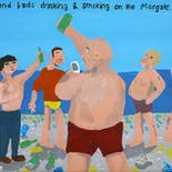 Bad Painting 57: Weekend lads drinking & smoking on the Margate.