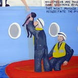 Bad Painting 92: Volunteers are trying to save drowning refugees. They won't manage to resuscitate the small child.