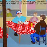 Bad Painting 94: Two men are interviewing a man for a job. They lured him to this diner with a bogus ad on Craigslist. They are planning to kill him.
