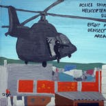 Bad Painting 121: Police snipers from a helicopter are targeting suspects and killing eight people in a densely populated area of Rio de Janeiro.