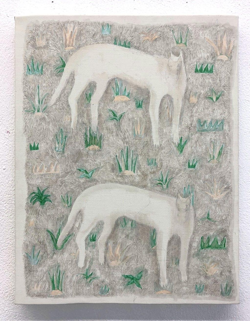原っぱ模様とネコ/Cats, Meadows pattern