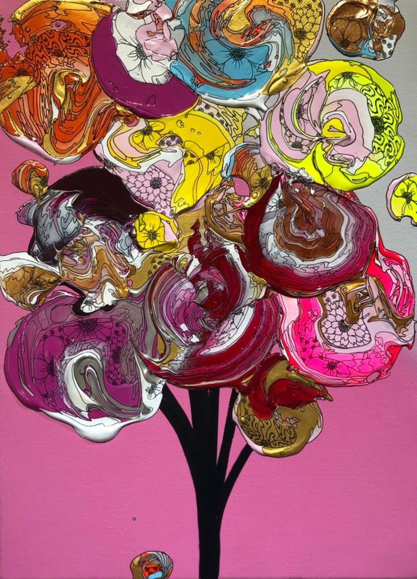 Abstract Bouquet (Pink Gradation x Yellow)
