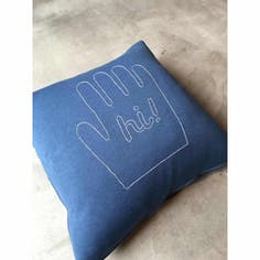 "STOMACHACHE. x Pacifica Collectives ""Hi!"" Cushion (Blue)"