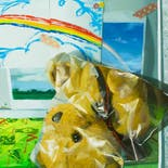 Cut-and-Pasted Bear on a Still Life with Rainbow